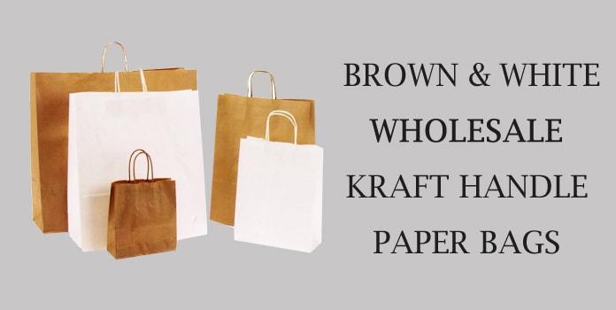 Brown White Wholesale Kraft Handle Paper Bags Online