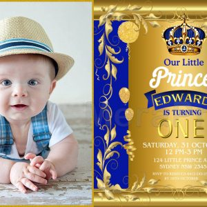 Royal Blue Gold Prince Baby Boy 1st Birthday Party Invitation Online
