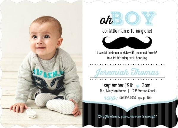 Baby Boy's First Birthday Invitation, 1st Birthday Invitation Card