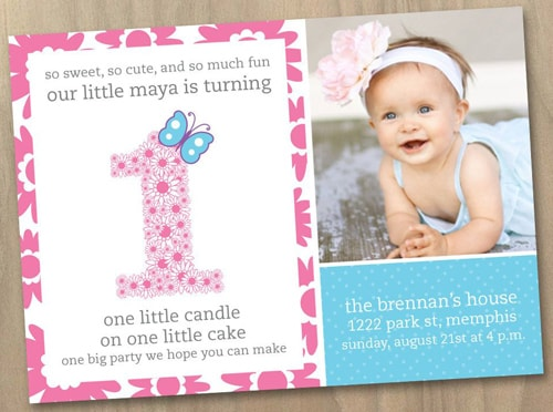 Personalized 1st Birthday Invitation Card for Baby Girl Princess Theme