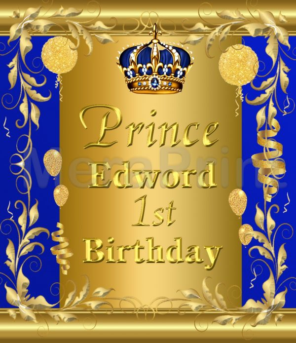 Royal Prince Birthday Invitation, Royal Blue and Gold Baby Boy First Birthday Theme Invitation Card