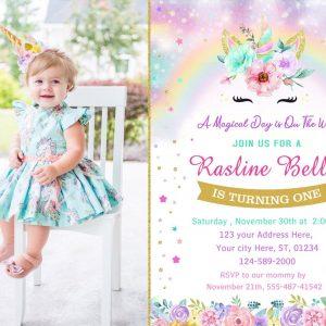 Rainbow Unicorn first Birthday Party Invitation, Unicorn Theme, Unicorn Party Girl Invitation